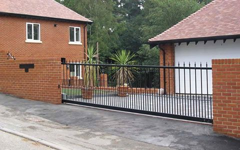 Wrought iron metal sliding gate