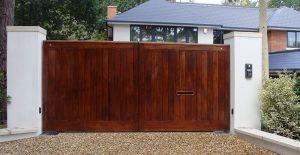 Iroko hardwood sliding gate